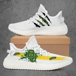 NCAA Baylor Bears Yeezy Boost White Sneakers V1