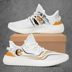 NCAA Campbell Fighting Camels Yeezy Boost White Sneakers V3