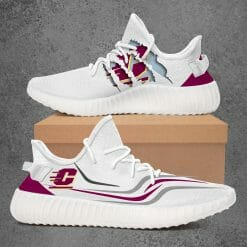NCAA Central Michigan Chippewas Yeezy Boost White Sneakers V3