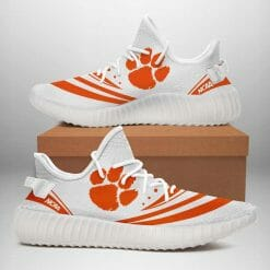 NCAA Clemson Tigers Yeezy Boost White Sneakers V2