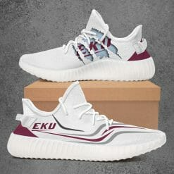 NCAA Eastern Kentucky Colonels Yeezy Boost White Sneakers V3