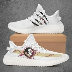 NCAA Florida State Seminoles Yeezy Boost White Sneakers V1
