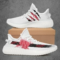 NCAA Houston Cougars Yeezy Boost White Sneakers V1