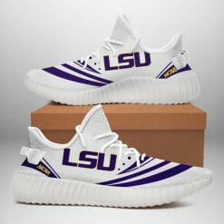 NCAA LSU Tigers Yeezy Boost White Sneakers V2