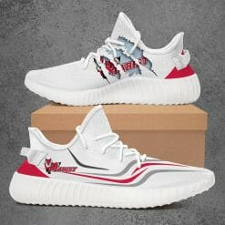 NCAA Marist Red Foxes Yeezy Boost White Sneakers V3