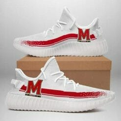 NCAA Maryland Terrapins Yeezy Boost White Sneakers V1