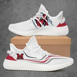 NCAA Miami University RedHawks Yeezy Boost White Sneakers V3