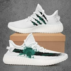 NCAA Michigan State Spartans Yeezy Boost White Sneakers V1