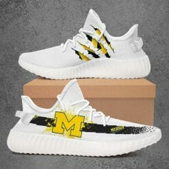 NCAA Michigan Wolverines Yeezy Boost White Sneakers V1