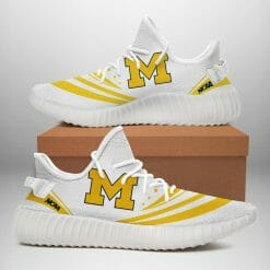 NCAA Michigan Wolverines Yeezy Boost White Sneakers V2