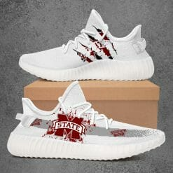 NCAA Mississippi State Bulldogs Yeezy Boost White Sneakers V1