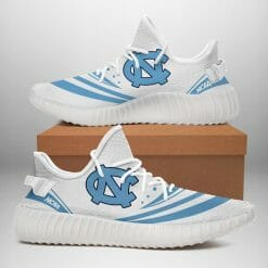 NCAA North Carolina Tar Heels Yeezy Boost White Sneakers V2