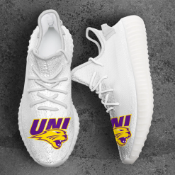 NCAA Northern Iowa Panthers Yeezy Boost White Sneakers V4