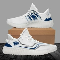 NCAA Penn State Nittany Lions Yeezy Boost White Sneakers V3