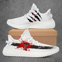 NCAA Texas Tech Red Raiders Yeezy Boost White Sneakers V1