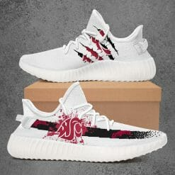 NCAA Washington State Cougars Yeezy Boost White Sneakers V1